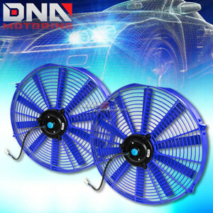 2x16 Universal Blue Slim Electric Radiator Cooling Fans Mounting Kit
