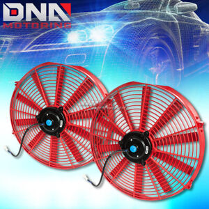 2x16 Red Universal Slim Pull Push Electric Radiator Cooling Fans Assembly Kit