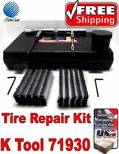 Ktool 71930 Tire Repair Kit 8 Pc Plug Patch Flat Tubeless Car Truck Motorcycle