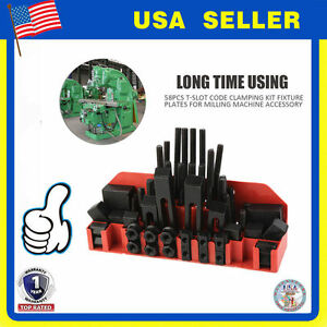 58pc M12 Stud Hold Down Clamp Clamping Set Kit Bridgeport Mill Fs1