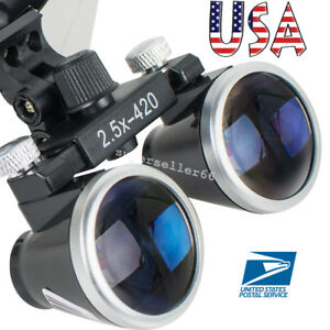 Latest Dental Dentist Students Surgical Medical Binocular Loupes 2 5x 420mm Lens