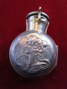 Rare 1890 S British Sterling Silver Perfume Bottle Pendant Repousse Flask Holder