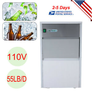 Stainless Steel Under Counter 55lb Ice Machine Built in Clear Ice Cube Maker Usa
