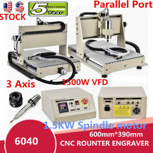 1 5kw Vfd 3axis 6040 Engraver Cnc Router Engraving Soft Metal Drill Mill Machine