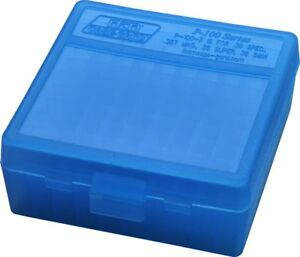 NEW MTM 100 Round Flip-Top 38357 Cal Ammo Box - Clear Blue
