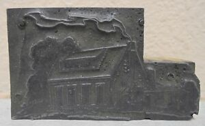 Vintage Printing Letterpress Printer Block House With Smoking Chimney