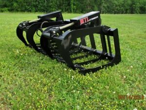 2019 mtl Attachments Hd 66 Skid Steer Root Grapple Bucket Twin Cyl quick Attach
