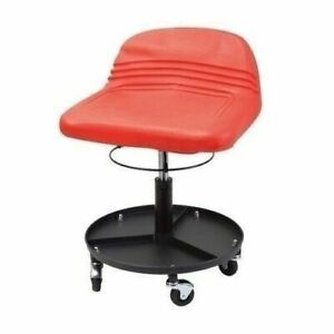 Red Hydraulic Shop Seat Adjustable Garage Stool Work Chair Mechanic Tool Tray