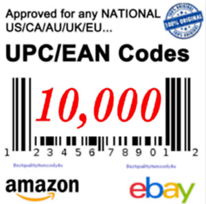 10 000 Upc Ean Codes Barcodes Numbers Unique Approve For Ebay Amazon Best Price
