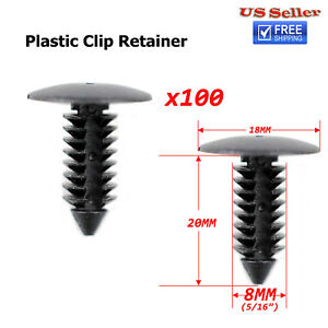100x Plastic Clip Rivets Fastener 8mm Dia For Car Auto Bumper Fender Rocker
