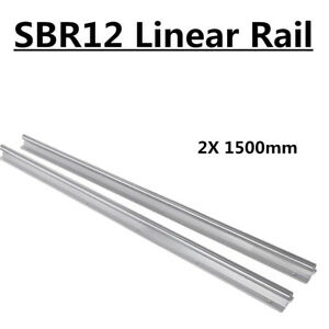 2 Shaft Rod Sbr12 1500 Slide Guide Fully Supported Linear Rail For Cnc