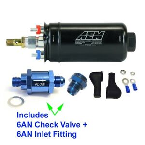 Genuine Aem Metric 400lph Inline Fuel Pump 6an Inlet Fitting 6an Check Valve