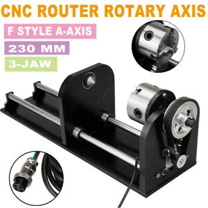 Cnc Router Rotary Axis With 80mm Chuck A axis 230mm Track Co2 Laser Engraving