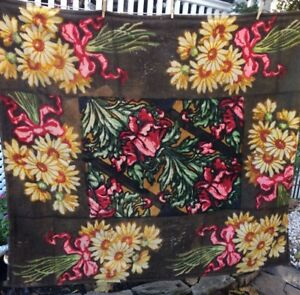 Antique Amish Horse Buggy Sleigh Lap Blanket Floral Print Mohair 52 X60