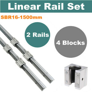 2x Sbr16 1500mm Cnc Fully Supported Shaft Rod 4 Sbr16uu Block Linear Rail