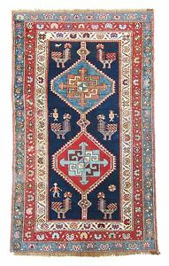 Extremely Rare Bold Antique Cruciform 19th Shahsavan Persian Rug Dehati