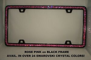 Made W Swarovski Crystals Bling Car Black License Plate Frame 26 Colors Avail