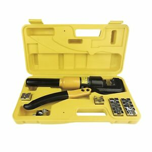 10 Tons Hydraulic Wire Battery Cable Lug Terminal Crimper Crimping Tool W dies