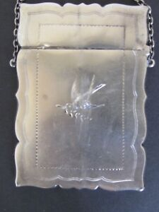 Antique Sterling Silver Victorian Card Case With Dove And Butterfly