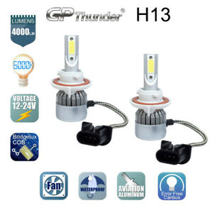 2x Gp Thunder Cree Led Headlight H13 9008 6000k Low High Beam Fog Drl Bulb White