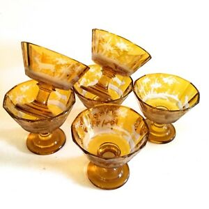 Antique Moser Set Of Six Large Wine Goblets Hand Carved Beautiful Amber Color