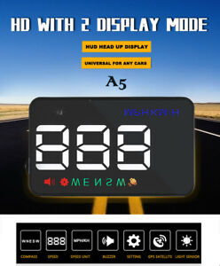 A5 Gps 3 5 Hud Head Up Display Km H Mph Digital Speedo Speed Warning Alarm