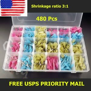 480 Heat Shrink Wire Connector Assortment Automotive Marine Kit Stock In Usa Fh3