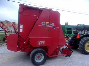 Nice Gehl 1875 Round Baler W Net Wrap size 5x6 Can Ship 1 85 Loaded Mile