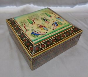 Persian Khatam Bone Wood Hand Painted Miniature Dancing Scene Trinket Box