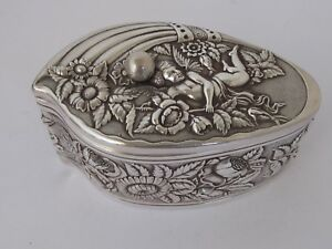 Antique Derby Silver Co Silver Plate Trinket Box Cherub And Flowers