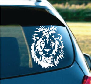 Tribal Beautiful Lion Head For Car Truck Suv Decal Sticker 6 White