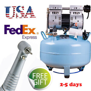 Usa Dental Noiseless Oilless Air Compressor Pressure Motor 3 4hp Led Handpiece