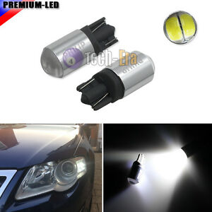 2x White T10 168 2825 Led Bulbs For Parking Position Lights Powered By Philips