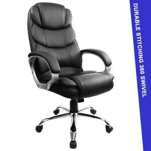 High back Swivel Desk Computer Ergonomic Executive Office Chair Black Pu Leather