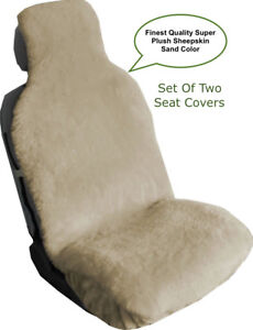 Sheepskin Seat Covers Seat Wraps Two Super Plush Top Quality Australian Sand