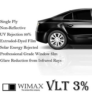 Wimax Limo Dark Black 3 Vlt 24 In X 50 Ft Feet Uncut Roll Window Tint Film