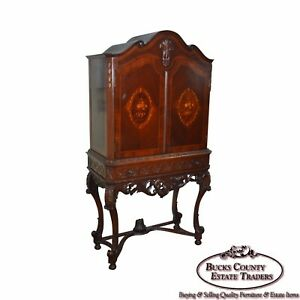 1930s Marquetry Inlaid Georgian Style Carved 2 Door Cabinet