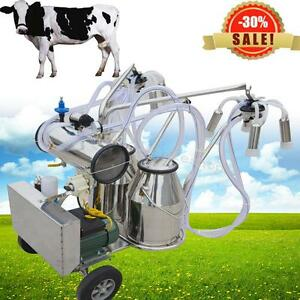 Portable Double Tank Milker Electric Vacuum Pump Milking Machine Cattle Cow Farm