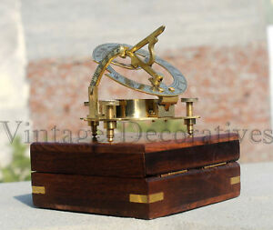 Vintage Nautical Ship Astrolabe Compass With Box Marine Working Brass Compass 3