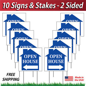 10 Signs 12x12 Open House Directional Signs Corrugated Plastic Free Stakes B