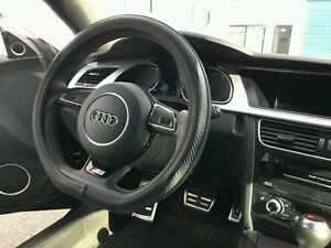 Audi Black Steering Wheel Cover Faux Leather Carbon Fiber Flat Base Bottom