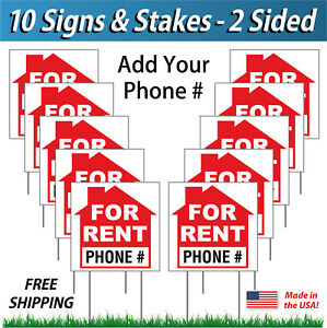10x For Rent Signs Add Your Corrugated Plastic Free Stakes 10 Pk R