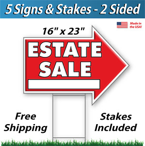 5x Estate Sale Arrow Shaped Signs Stakes Corrugated Plastic 5 Pk R