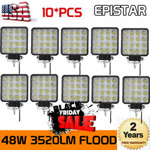 10pcs 48w Flood Led Off Road Work Light Lamp 12v 24v Car Boat Truck Driving Ute