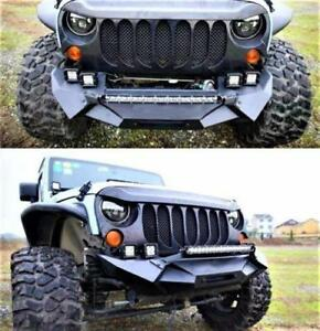 Us Rock Crawler Angry Front Bumper For 2007 2017 Jeep Wrangler Jk Textured Black