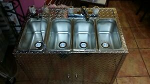 Medium Size Portable Self Contained 4 Compartment Sink Food Truck Hot Water