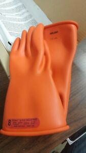 Pip Novax Class 0 Rubber Insulating Electrical Gloves Orange 11 Length Size 8