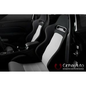 Cipher Auto Black Fabric W grey Insert Universal Euro Racing Seats Pair Sale