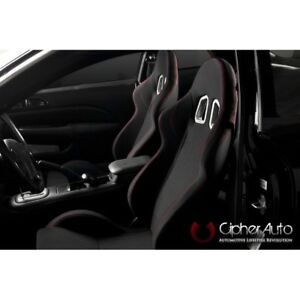 Cipher Auto Black G2 Fabric W red Stitching Universal Euro Racing Seats Pair New