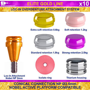 10x Dsi Dental Implant Conical Loc in Np Nobel Active Overdenture Attachment 2mm